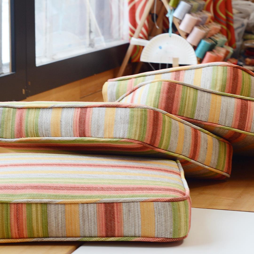 Cheerfully plump cushions made with oldworldweavers fabric from starkcarpet hellip