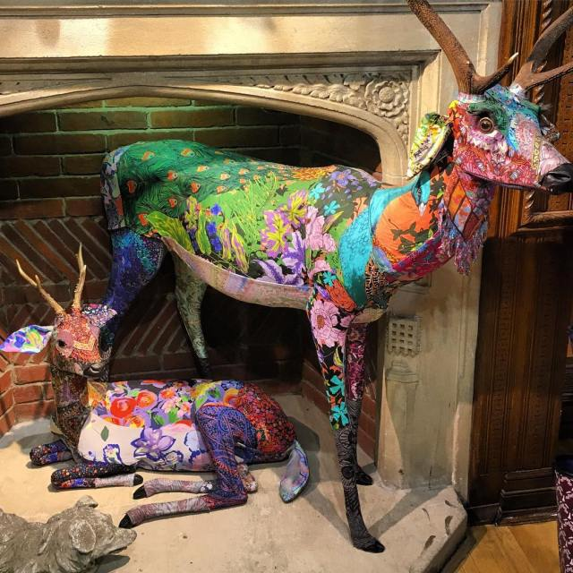 Incredible textile taxidermy with libertylondon jeweltone fabrics! britstyle london designhellip