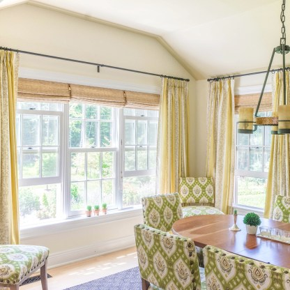 """This room felt like a passway before, and now it is completely transformed! I love it!"" - our Sharon, CT client upon seeing the drapes we installed today. #weloveourwork #happy #ctinteriors"