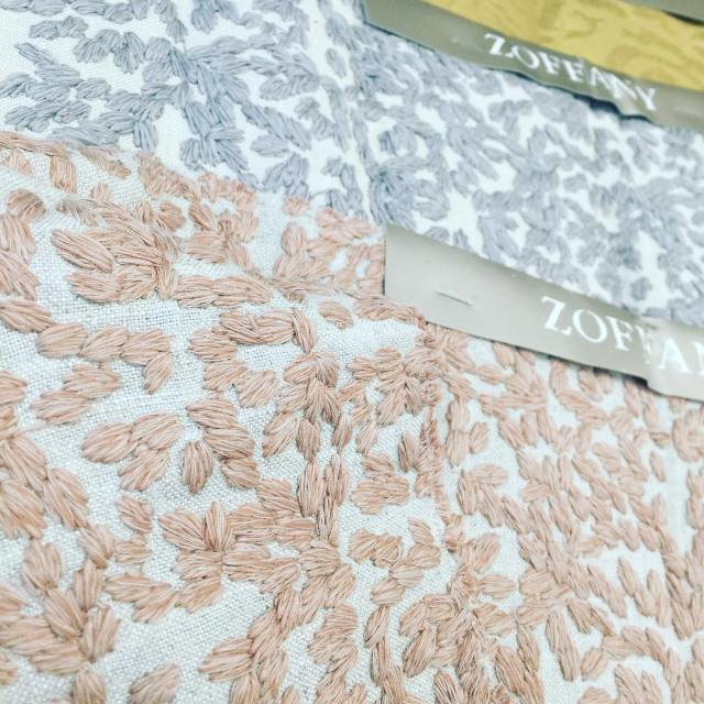 These new zoffanyfw embroidered cottonlinen fabrics Odell in Sunstone andhellip