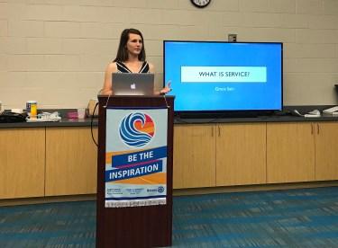 Grace Sain addresses members of the Lake Wylie Rotary Club
