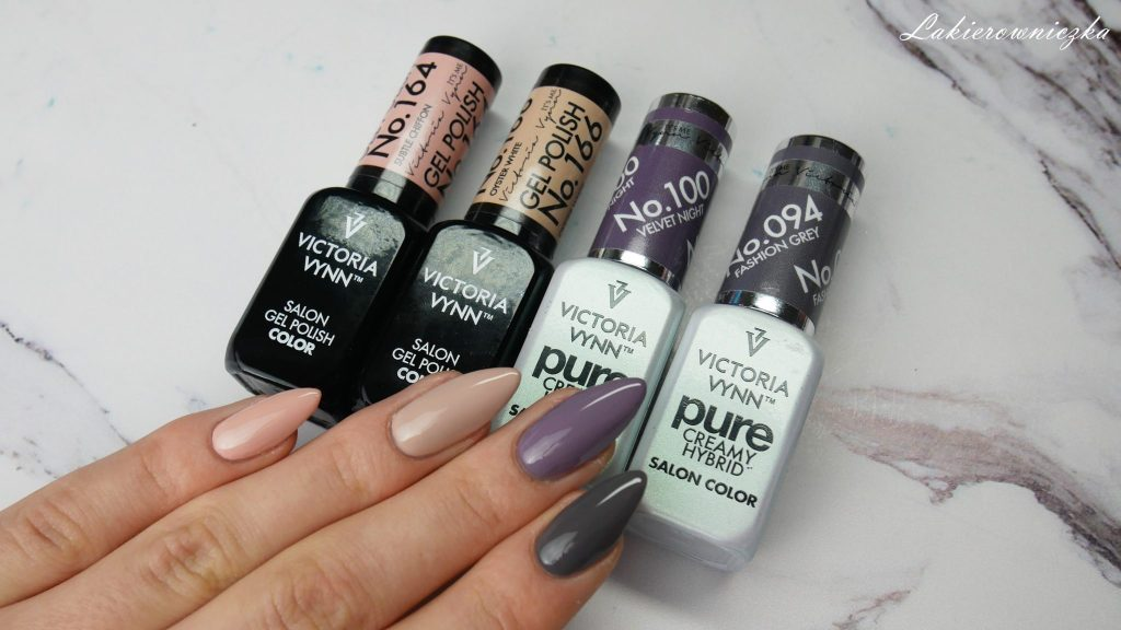 Pyłki-Glamour-Victoria-vynn-pylki-efekty-holo-pure-100-velvet-night-094-fashion-grey-gel-polish-164-subtle-chifon-166-oyster-white-top-no-wipe-Lakierowniczka