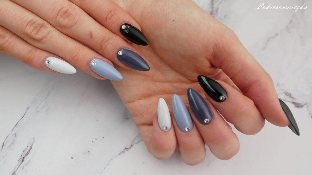 paznokcie-na-obrone-hybrydowe-hybrydy-szare-ombre-monochromatyczne-hybrid-hybridnails-nails-Rosegal-stylizacja-pedzle-blekitna-sukienka-paznokcie na obronę