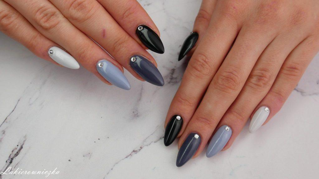 paznokcie-na-obrone-hybrydowe-hybrydy-szare-ombre-monochromatyczne-hybrid-hybridnails-nails-Rosegal-stylizacja-pedzle-blekitna-sukienka