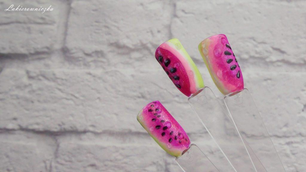 hybrydowe-arbuzy-z-kropla-wody-Charbonne-076-rozowa-landrynka-perlowa-106-wiosenna-limonka-arbuzowe-paznokcie-Lakierowniczka-owoce-na-paznokciach