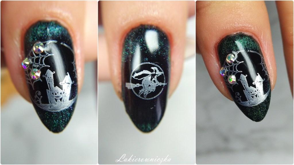 hybrydy-na-Halloween-paznokcie-Halloweenowe-kocie-oko-Le-Vole-zielony-Constance-Carroll-334-stamps-plates-BPS-Lakierowniczka-hybrydy na Halloween