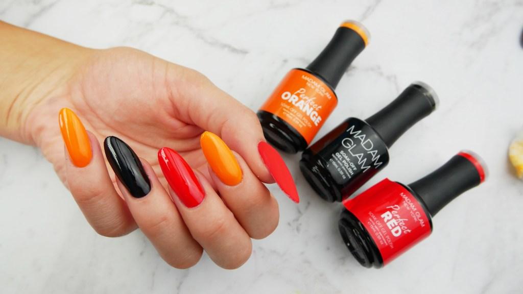 matowe-perfekcyjne-hybrydy-Madam-Glam-Perfect-Red-Orange-Black-Lakierowniczka-Madam Glam Perfect