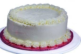 Golden Cake with Raspberry Buttercream Filling and Lemon Buttercream Frosting