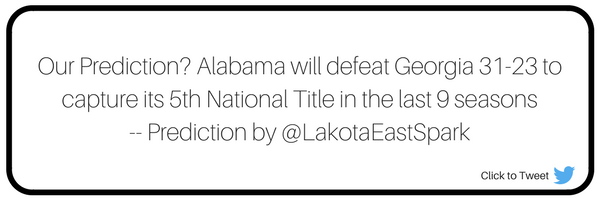 Alabama vs. Georgia National Championship Preview Guide Recap by Broc Nordmark Art by Lauren Maier Lakota East Spark Online Newsmagazine Spark