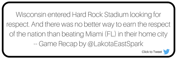 Orange Bowl Wisconsin Badgers vs. Miami Hurricanes Bowl Guide Recap by Stephen McKay Art by Lauren Maier Lakota East Spark Online Newsmagazine Spark