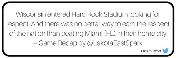 Orange Bowl Wisconsin Badgers vs. Miami Hurricanes Bowl Guide Recap by Stephen McKay Art by Lauren Maier Lakota East Spark Online Newsmagazine Spark