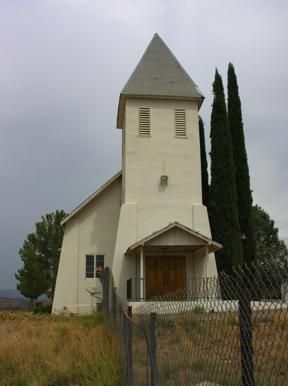 A church with a fence around it