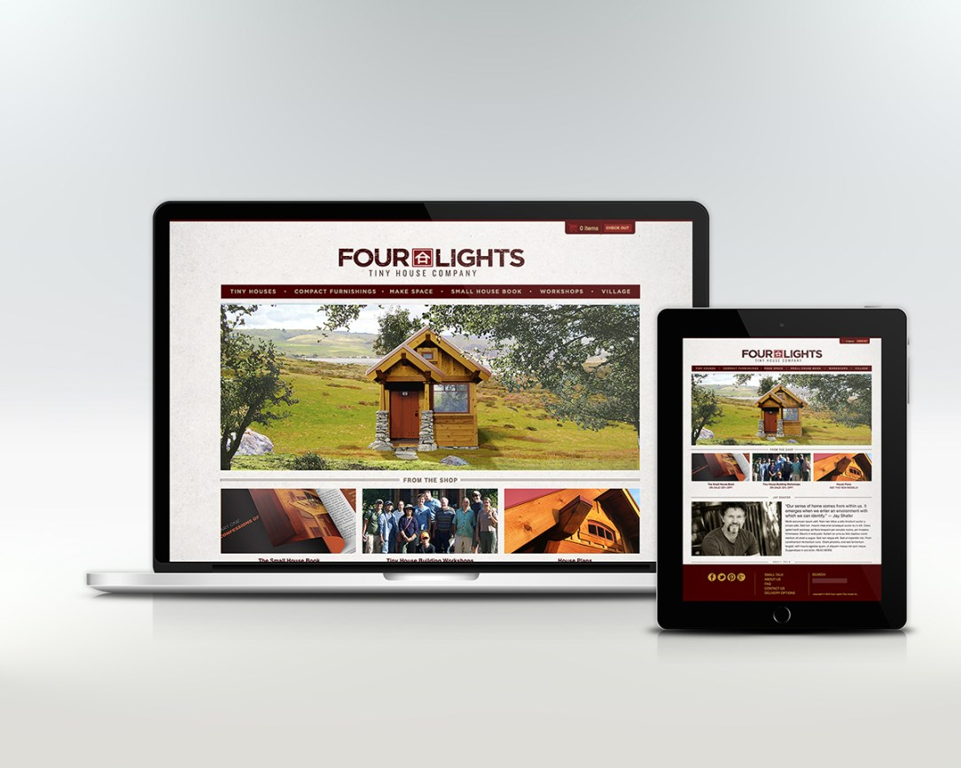 Four Lights Tiny House Company website