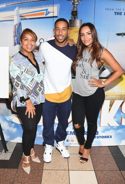 "ATLANTA, GA - SEPTEMBER 03: (L-R) Roberta Shields , Chris ""Ludacris"" Bridges, and Eudoxie Bridges attends the ""Storks"" private screening hosted by The Ludacris Foundation & Unspoken Angels at Regal Cinemas Atlantic Station on September 3, 2016 in Atlanta, Georgia. (Photo by Paras Griffin/Getty Images for Warner Bros.) *** Local Caption *** Roberta Shields, Chris ""Ludacris"" Bridges, Eudoxie Bridges"