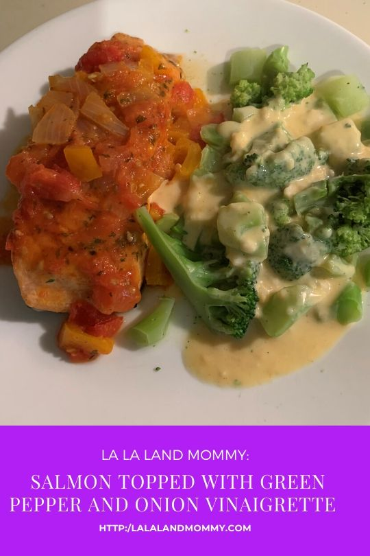 Check out the new salmon dish I cooked up in the kitchen this week. It's salmon with a green pepper and onion vinaigrette. This meal took less than 30 minutes to cook and was oh so good.