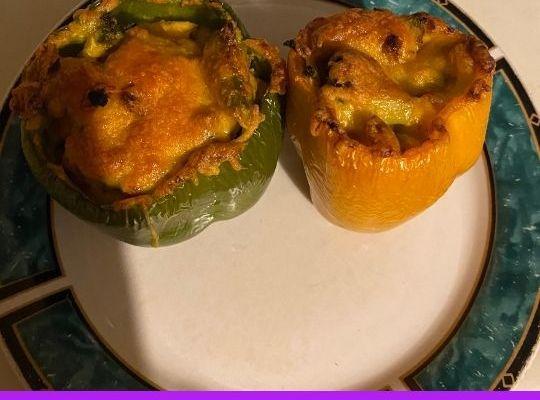 Cheesy Broccoli & Turkey Stuffed Peppers