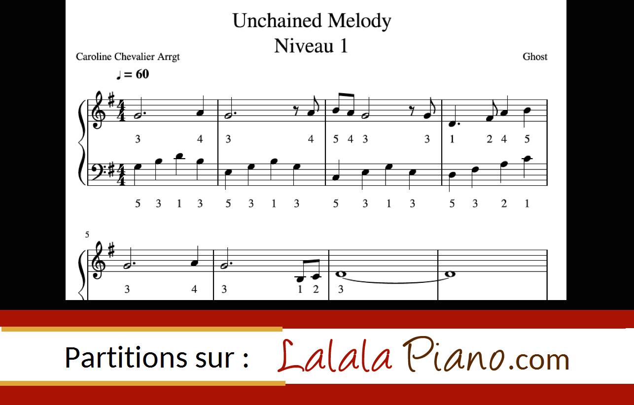 Partition piano facile et difficile Unchained Melody (film GHOST)