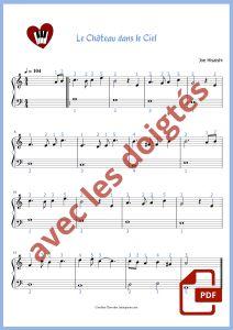 partition pour piano du thème du chateau dans le ciel (laputa) de miyazaki