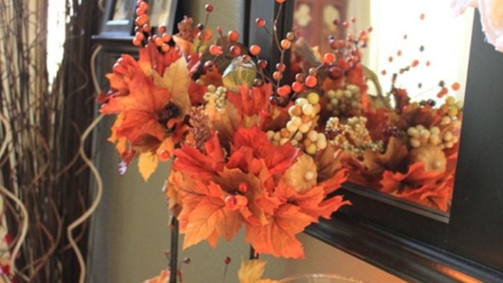 мастер класс осенний топиарий из листьев
