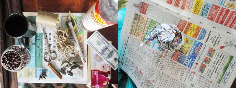 свернуть газету в шар