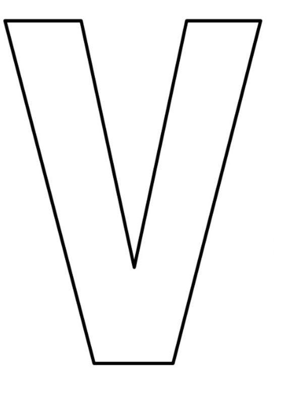 Abecedario rose minuscula letra v. Moldes de Letras (minúsculas y mayúsculas) para Descargar