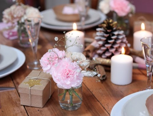 Décoration rose table