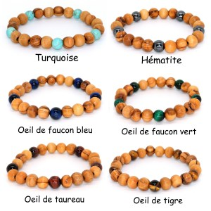 Bracelet 5 pierres 8mm – Mixte