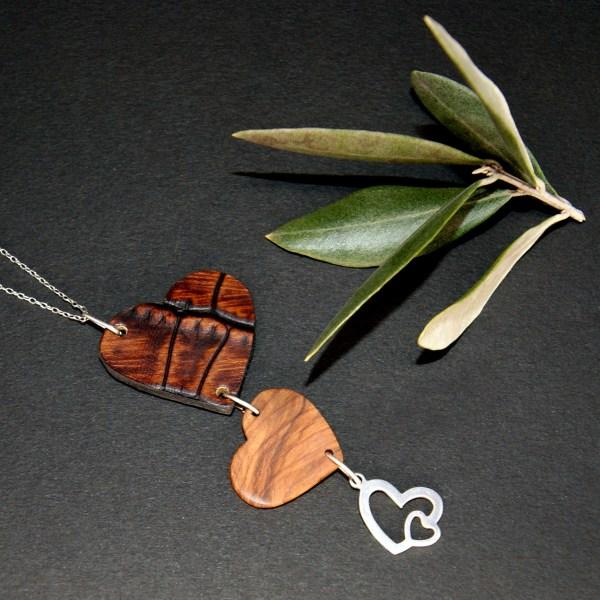 Femme Enfant artisanat unique Olivier Amandier Cerisier Bijou Collier Bois Argent 925 Ajustable cuir