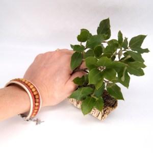 Bracelet manchette Liège et cuir beige – Mixte