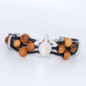 Bracelet Cuir «Tortue» Argent plaqué – Mixte