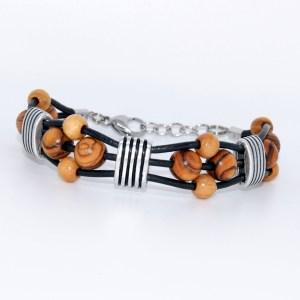 Bracelet Cuir «Vigueur» Argent plaqué – Mixte