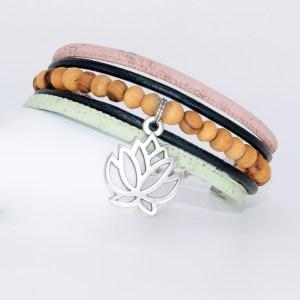 Bracelet manchette Liège cuir, Harmonie – Mixte