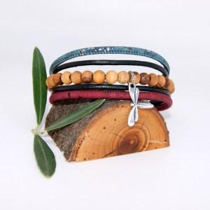 Bracelet manchette Liège cuir, Libellule – Mixte