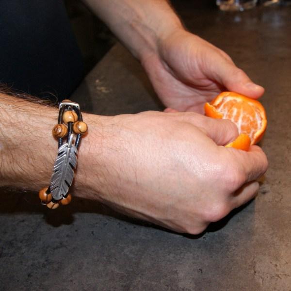 """Bracelet Cuir """"Grande Plume"""" Argent plaqué - Mixte"""