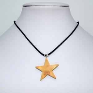 Collier Etoile doré – Buis – Mixte
