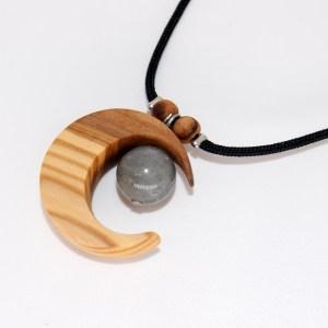 Collier Eclat de Lune – Olivier et Labradorite – Mixte