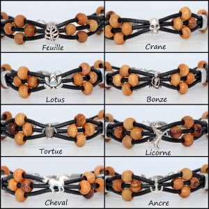Bracelet cuir et petit symbole Argent plaqué – Mixte