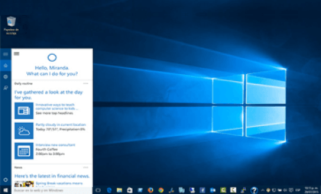 cortana de windows 10 familial