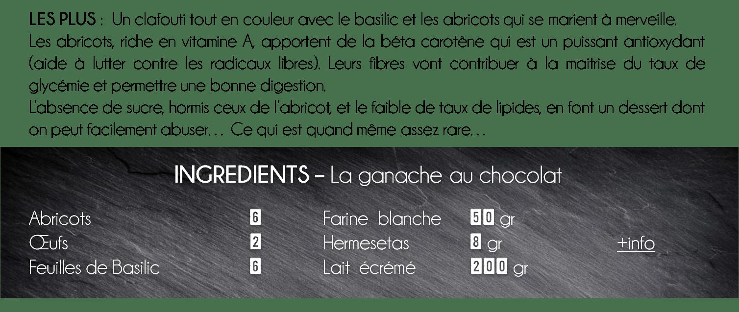 ingredient clafouti abricot basilic