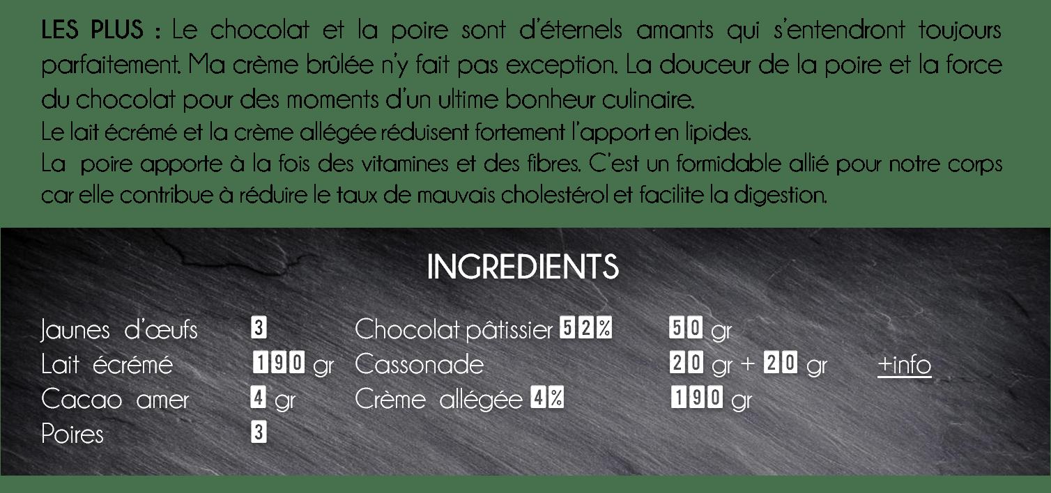 ingredients crème brûlée chocolat poire