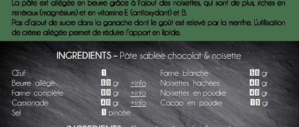 ingrédients tarte chocolat menthe