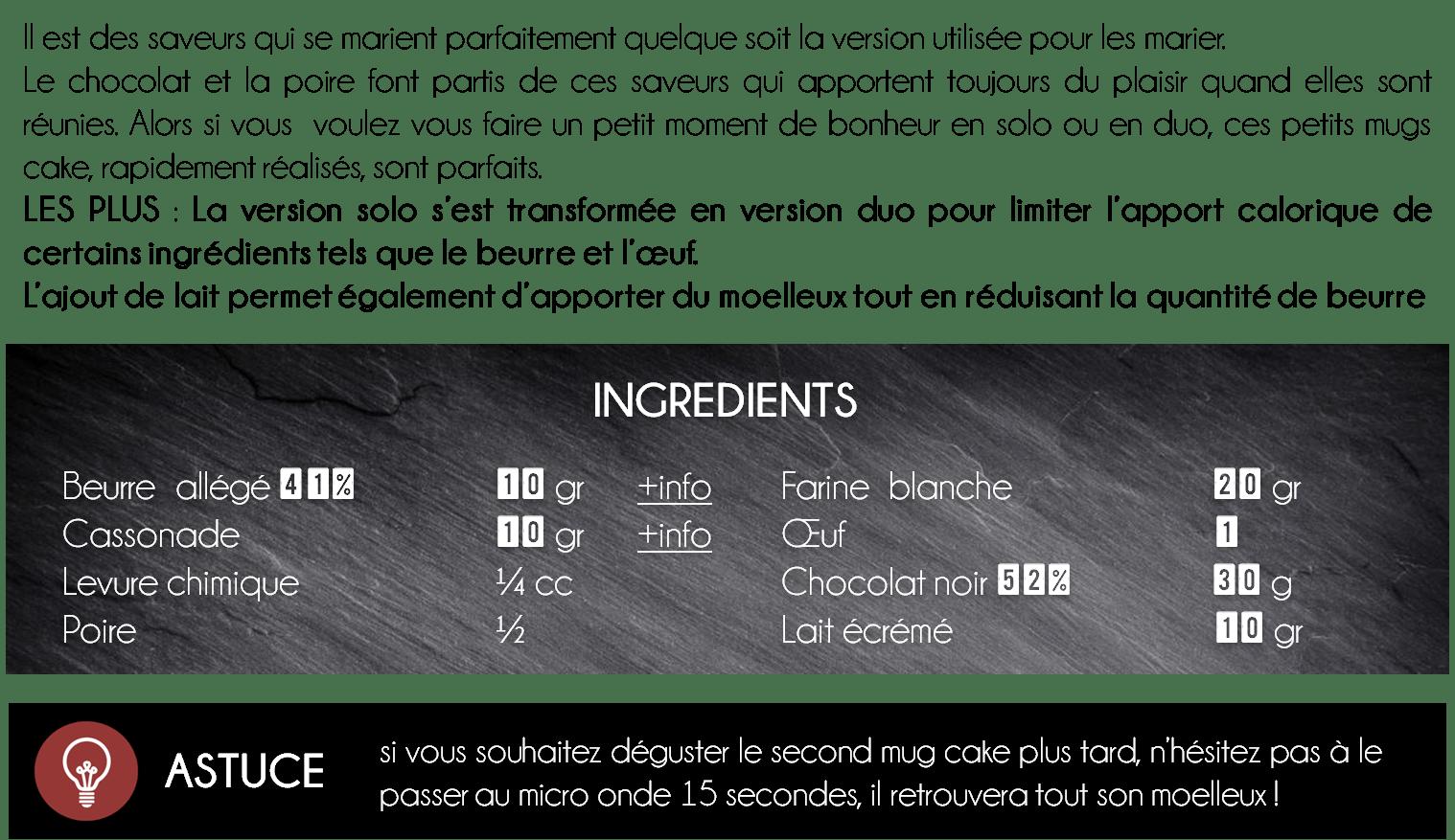 ingredients mug cake poire chocolat