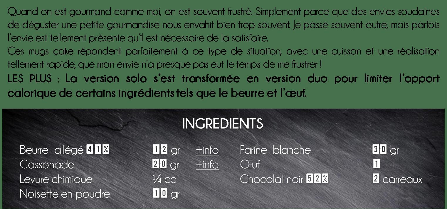 ingredients mug cake noisette chocolat