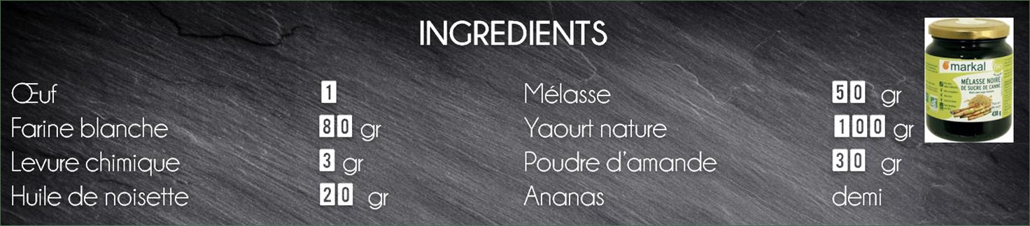 ingrédients moelleux ananas