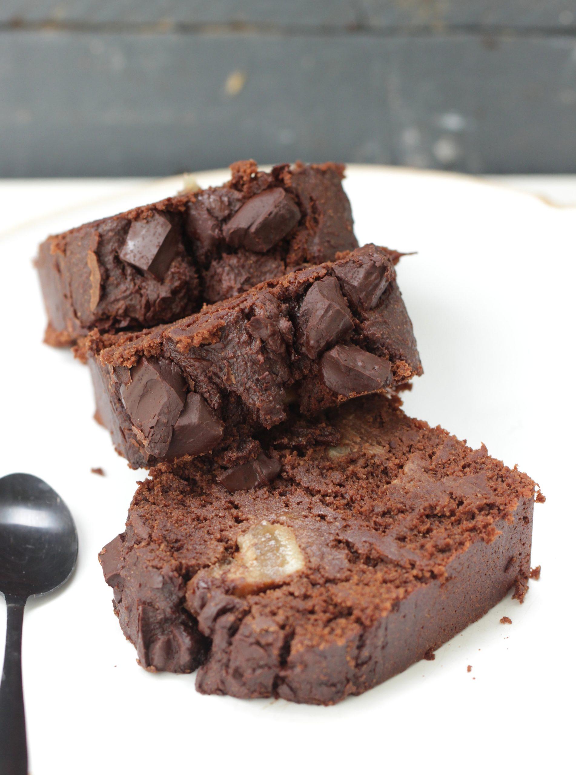 Cake fondant banane, amande & chocolat