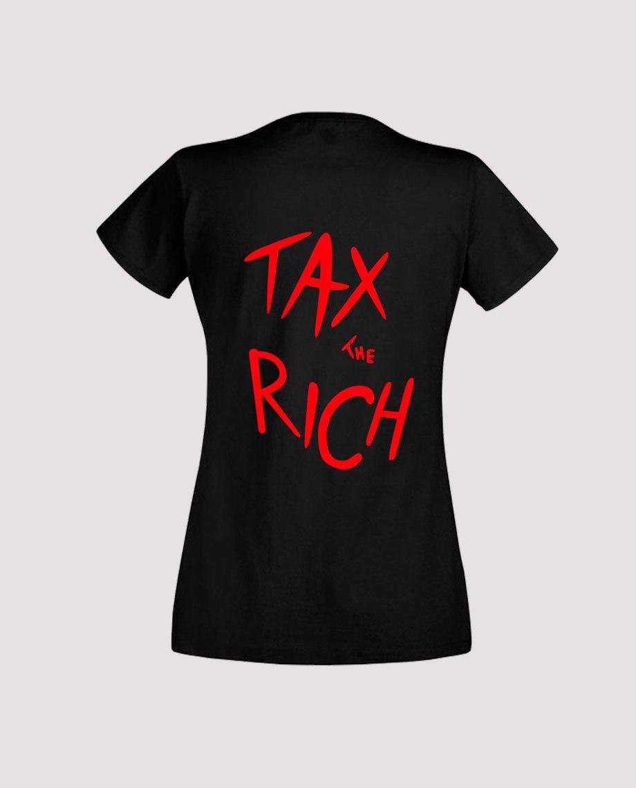 Dos T-shirt noir femme tax the rich