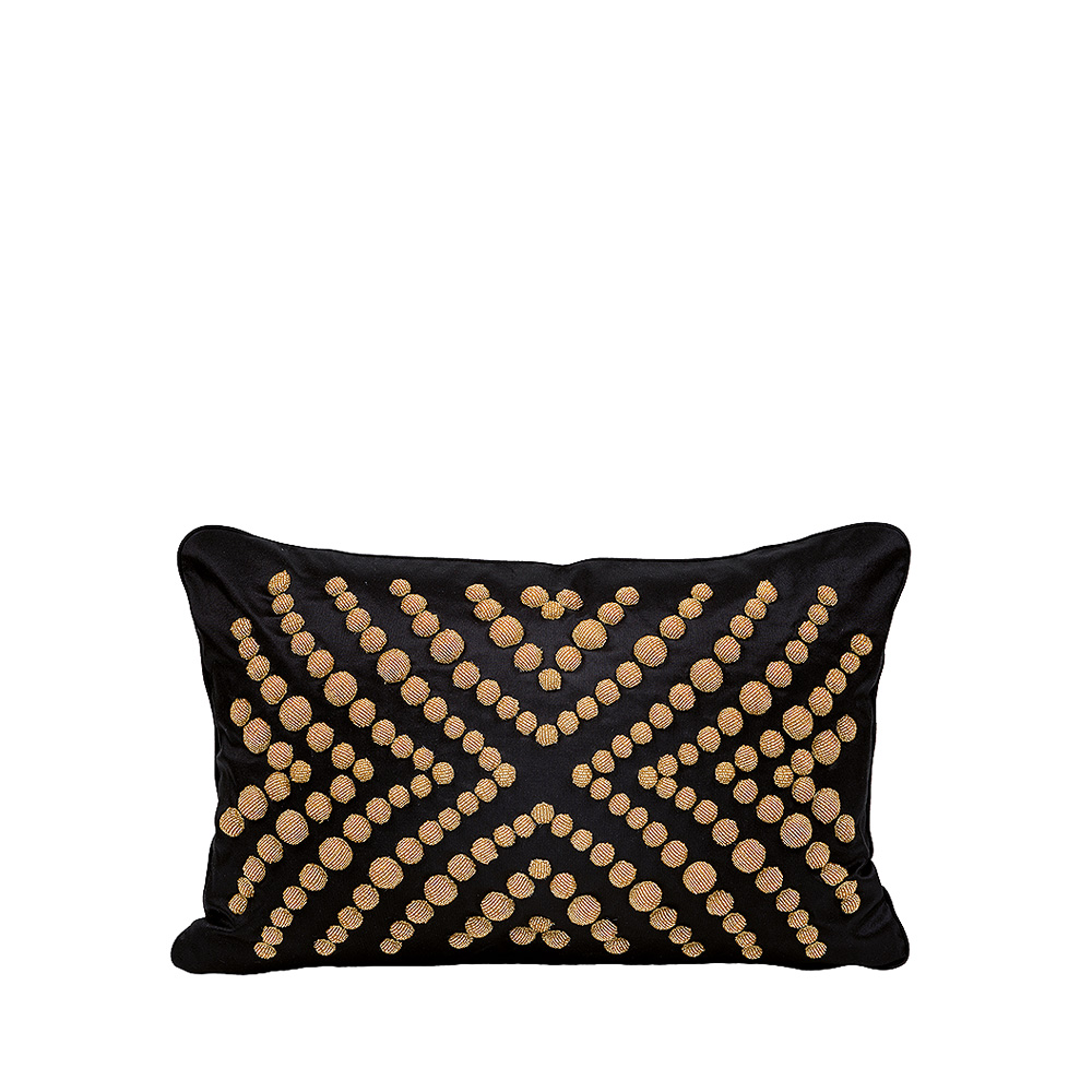 coutard beaded cushion ivory silk