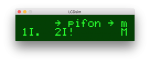 pifon mon running in the simulator on a Mac. Currently showing startup scroll text
