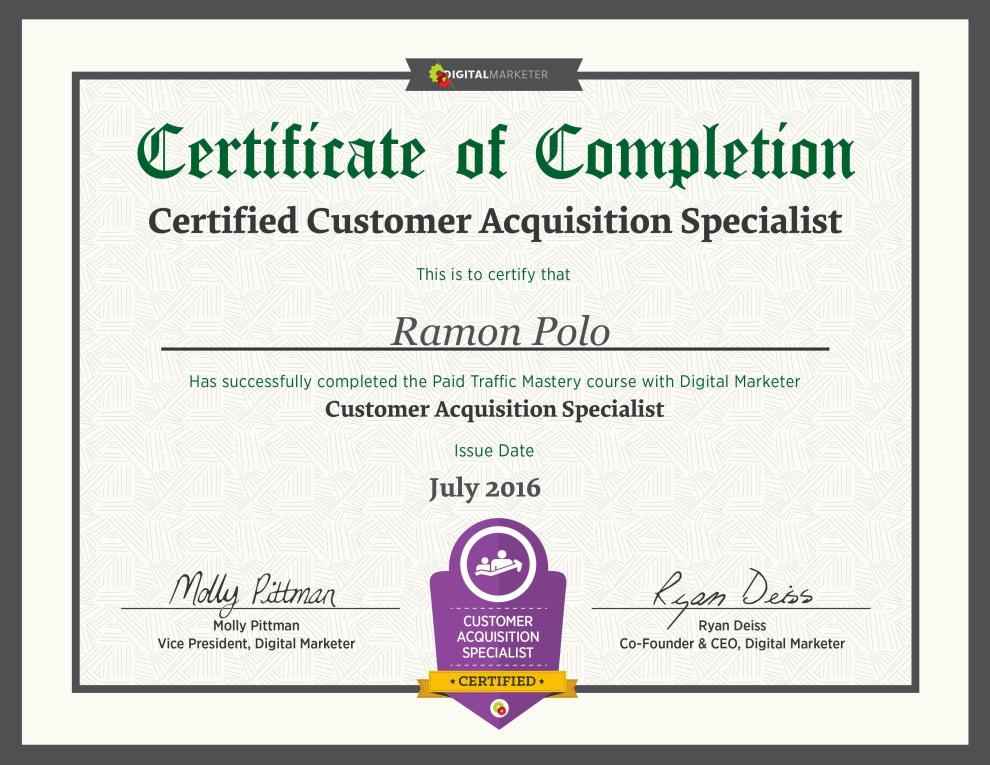 CustomerAcquisitionCertificate