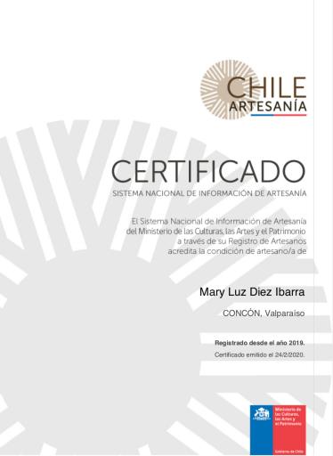 Certificado Registro nacional de Artesanía - Chile - lallavemagica.cl